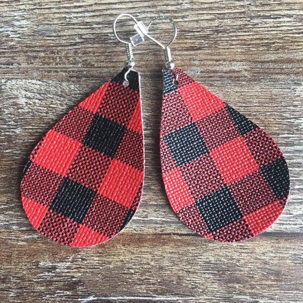 Red black plaid earrings