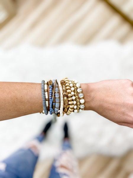 Gray Assorted Bead Bracelet Set