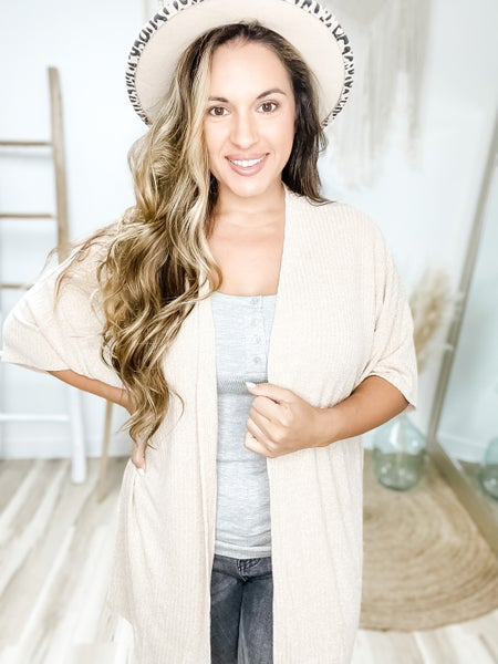 In To Deep Short Sleeve Taupe Cardigan