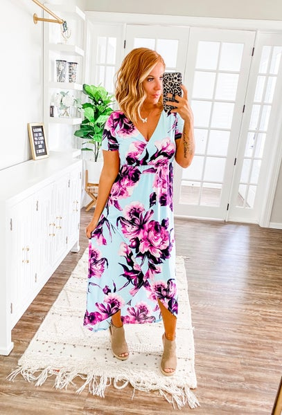 Tell Me More Blue Floral Maxi Dress