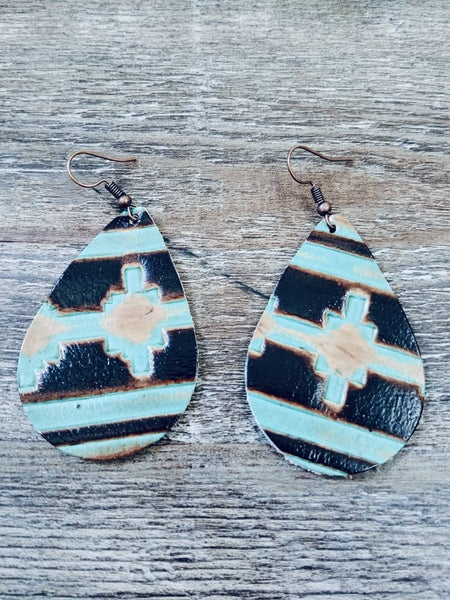AZTEC BROWN AND TURQUOISE EARRINGS