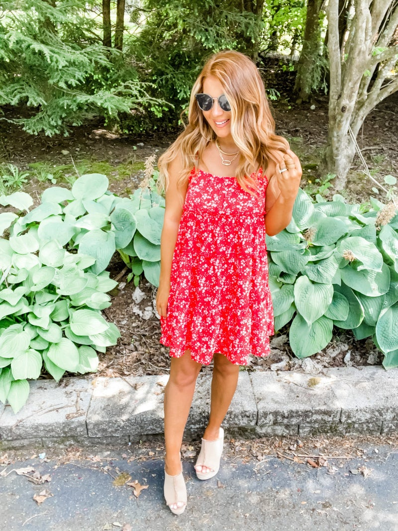 Can't Handle This Red And White Tiered Dress
