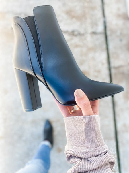 Black Faux Leather Pointed Toe Bootie