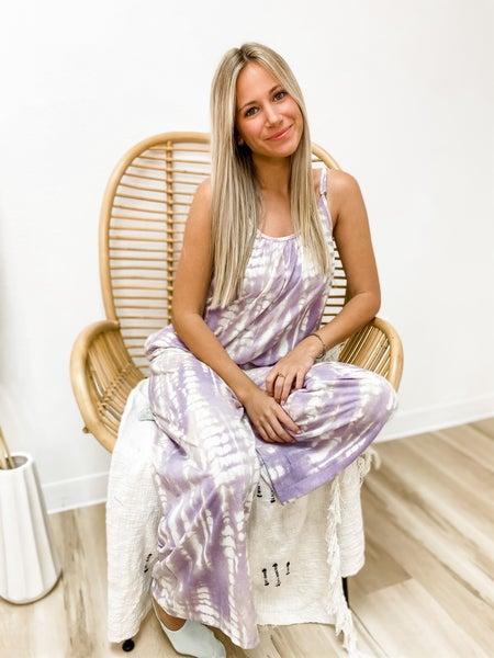 On My Own Path Lavender Tie Dye Jumpsuit