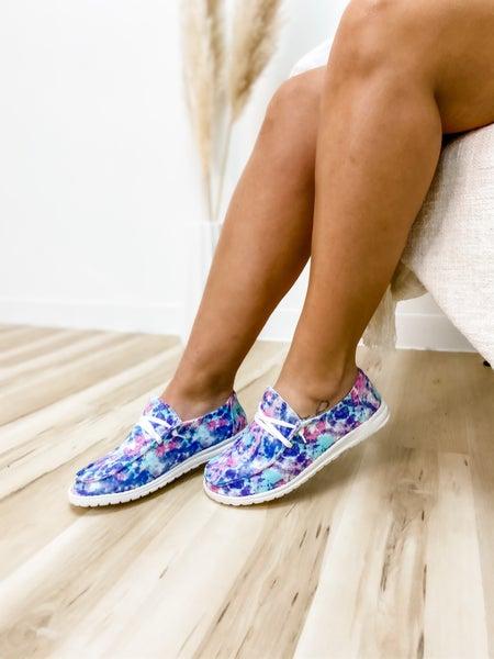 Blue Tie Dye Slip On Shoe