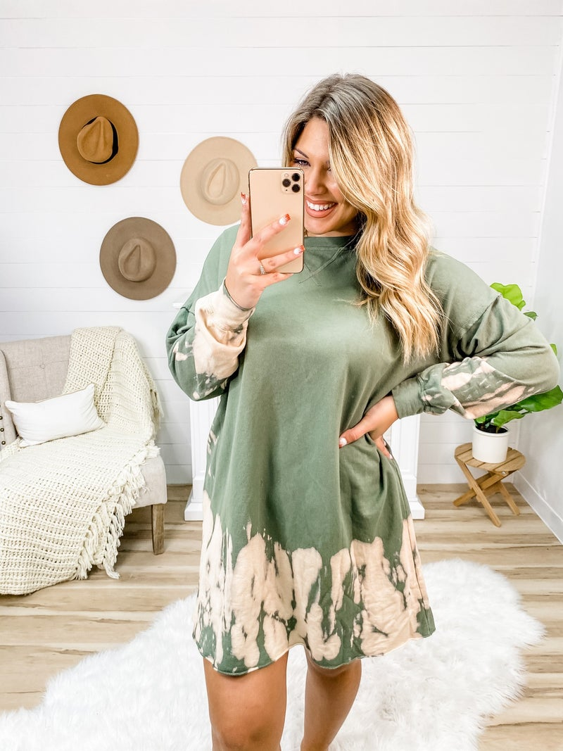 Let's Meet Later Olive Tie-Dye Knit Dress