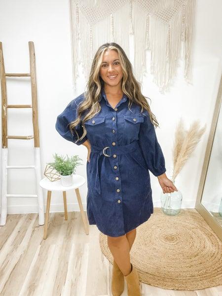 Classy In Corduroy Midnight Blue Dress