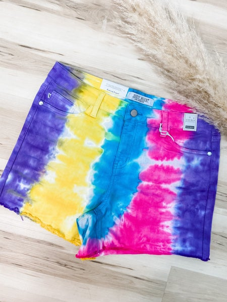 Sunshine And Snow Cones Tie Dye Judy Blue Shorts