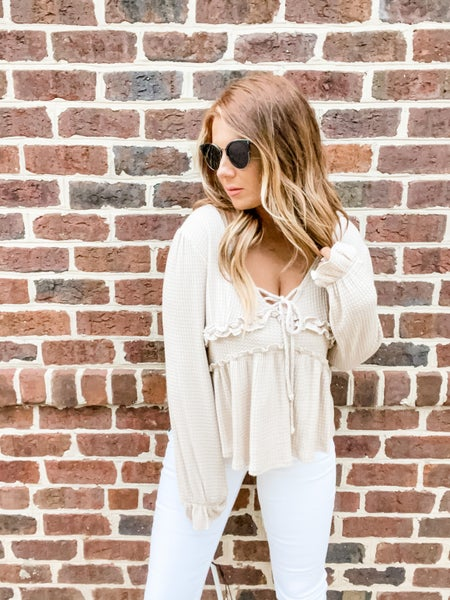 For The Frills Oatmeal Waffle Knit Top
