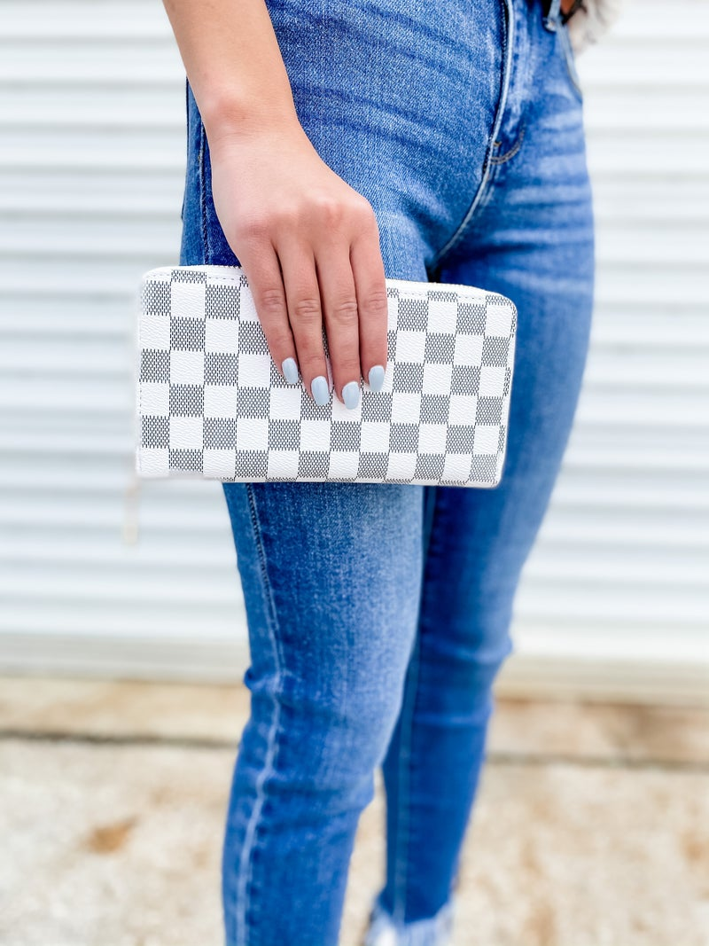 White Checkered Faux Leather Wallet