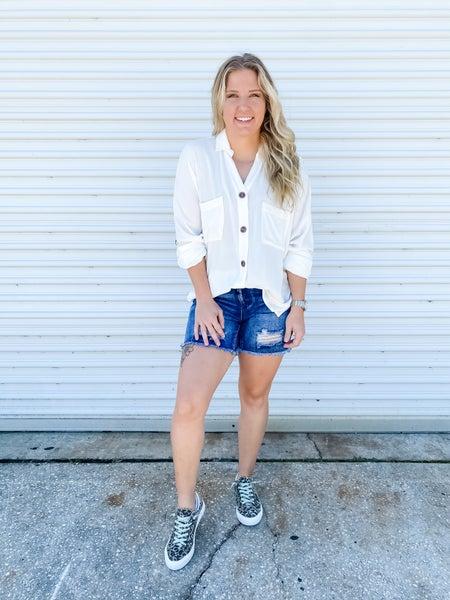 Summertime Madness Distressed Denim Shorts