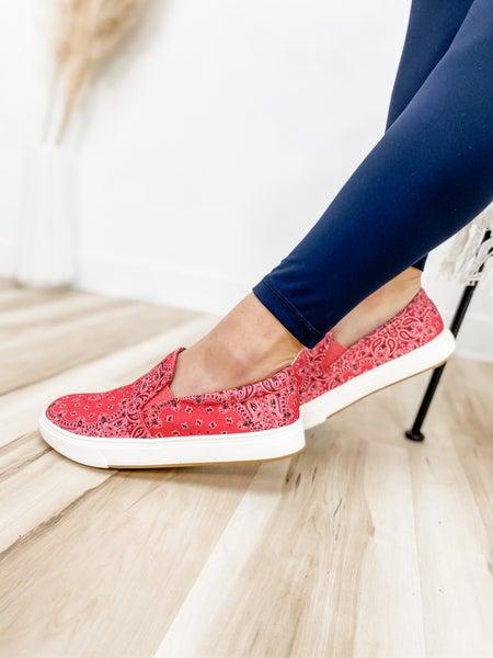 Steve Madden Red Multi Slip On Shoe