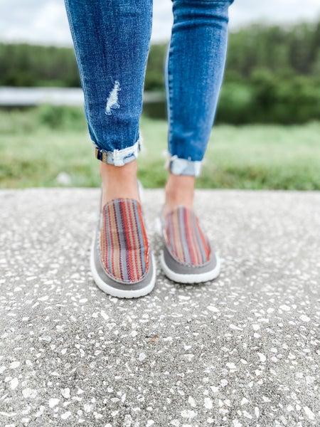 Grey Multi-Color Boho Print Slip On Shoe