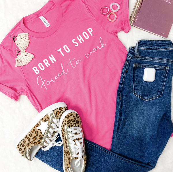 BORN TO SHOP GRAPHIC TEE