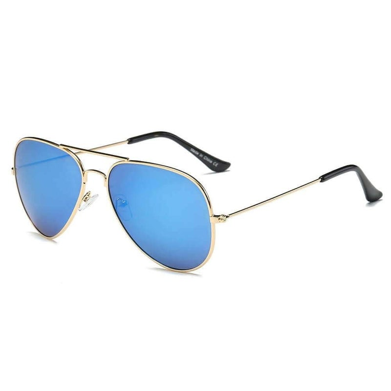 Blue & Gold Teardrop Aviator Sunglasses