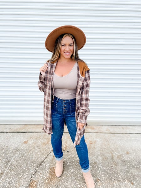 Headed In The Right Direction Camel Plaid Top