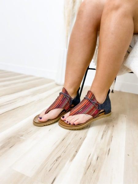 Black & Red Striped Zip Up Sandal