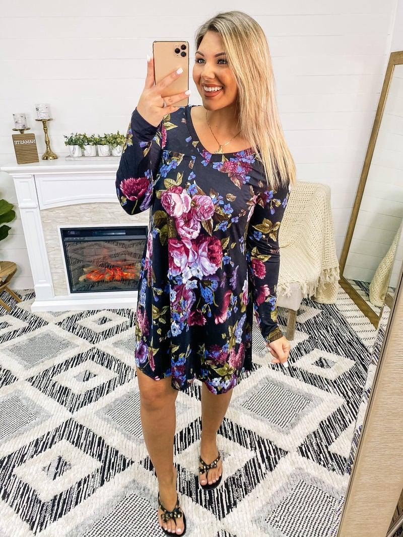 Worth It Black Floral Dress