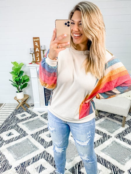 Style Forecast Taupe Ombre Long Sleeve Top