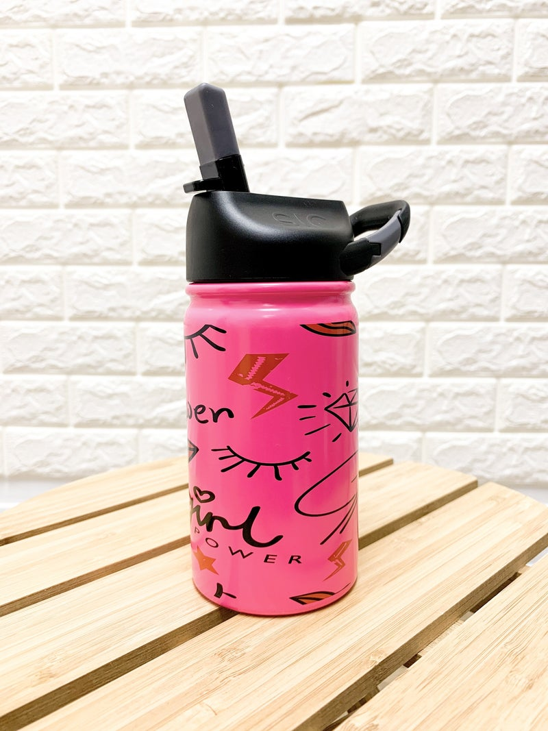 12 oz SIC Girl Power Pink Stainless Steel Kids Water Bottle