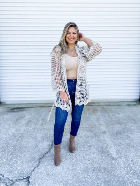 POL Weave Got it All Natural Ivory Cardigan