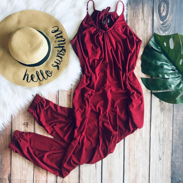 WINE JUMPSUIT WITH POCKET