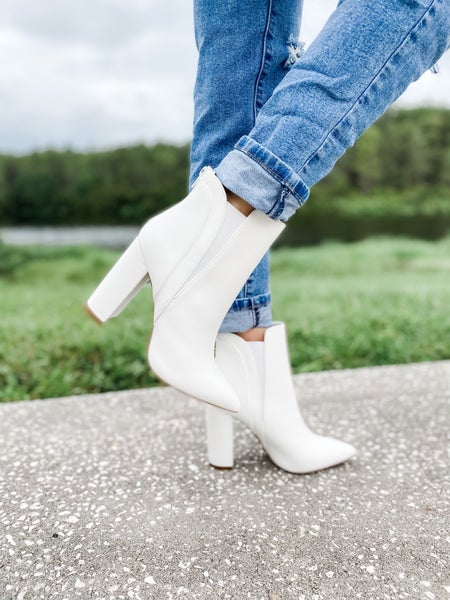 White Faux Leather Pointed Toe Bootie