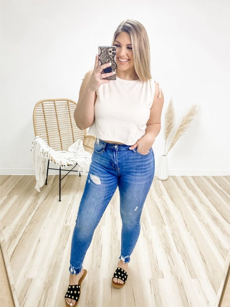 The Low Line High Waist Distressed Judy Blue Jeans