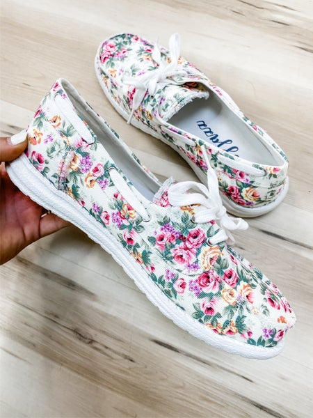 White Floral Slip On Shoe