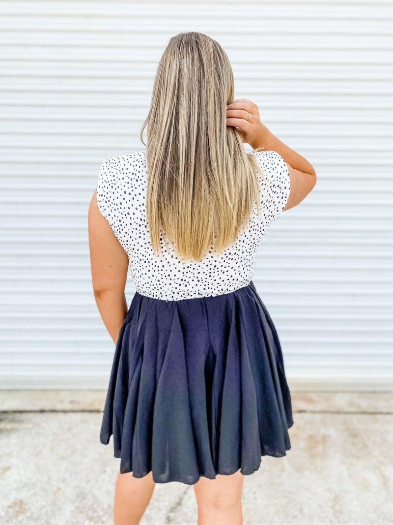 Spotted On A Date Black Dot Contrast Dress