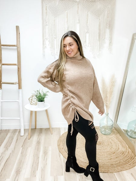 Tie Up Loose Ends Taupe Turtleneck Sweater