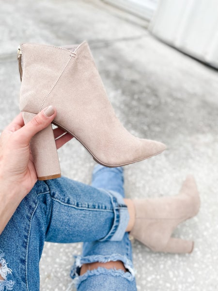 Taupe Suede Pointed Toe Bootie