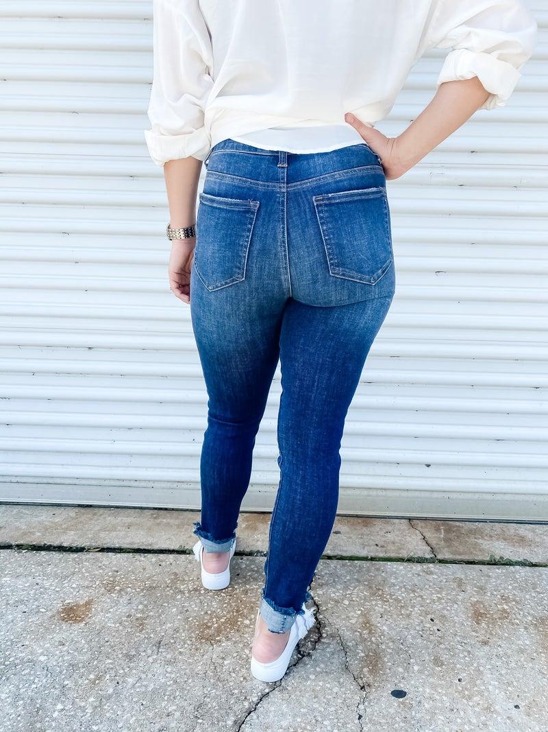 My Best Days Dark Denim Frayed Jeans