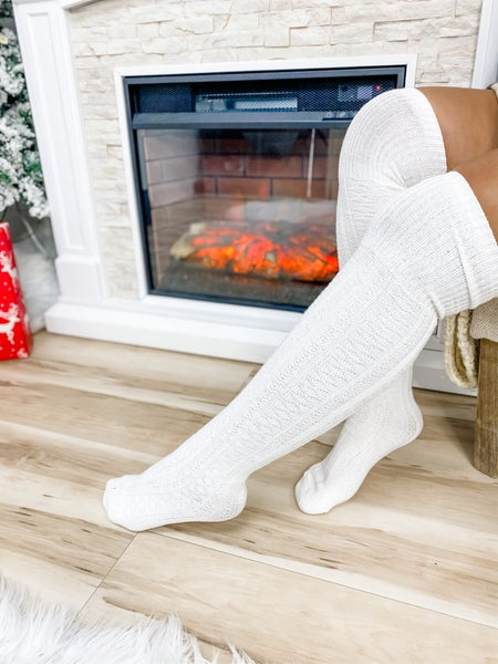 White Thigh High Socks
