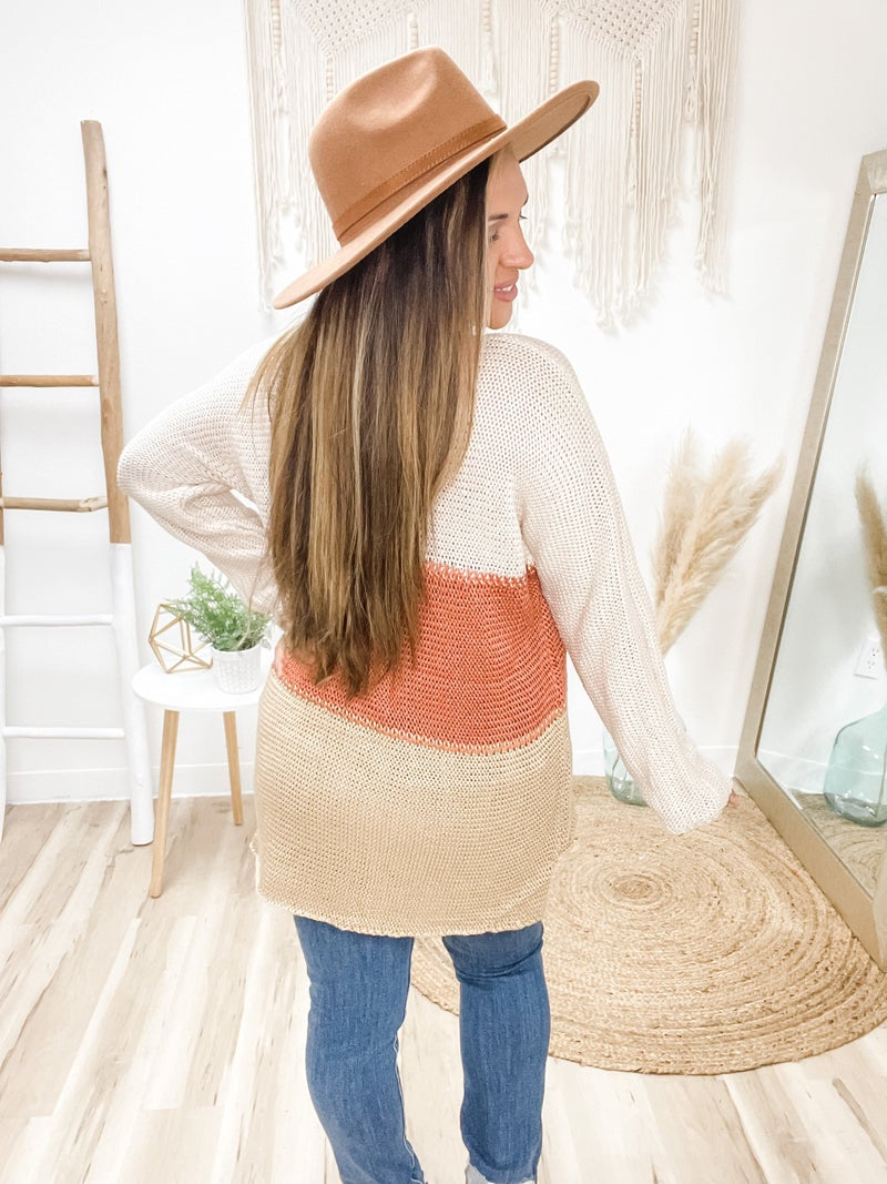 Keep It Consistent Rust Colorblocked Sweater