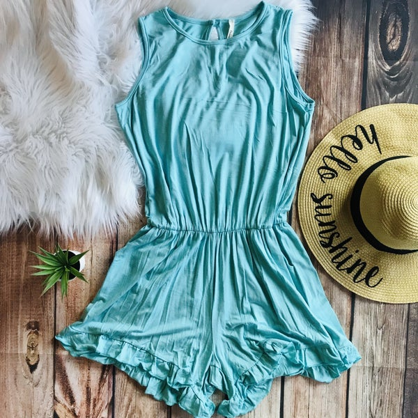 MINT SOLID ROMPER WITH RUFFLE DETAIL