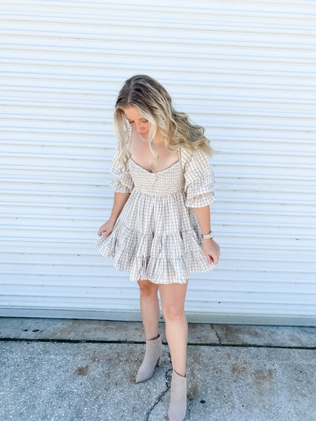 You're A Doll Taupe Gingham Dress