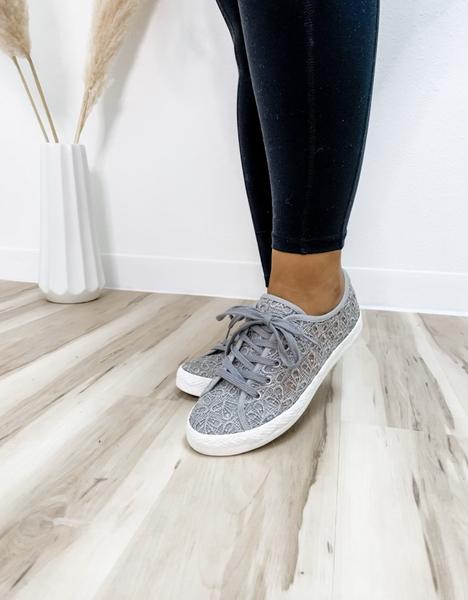 Grey Crochet Tennis Shoe