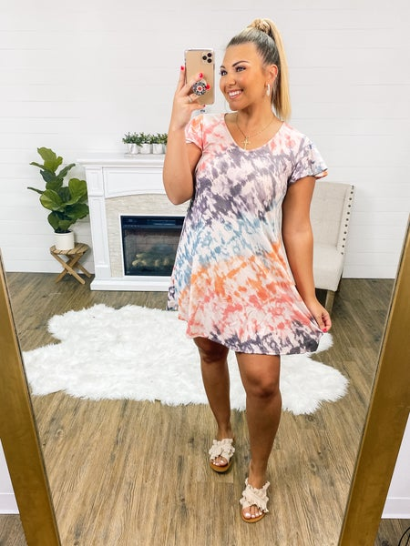 Catch Me If You Can Peach & Teal Tye-Dye Dress