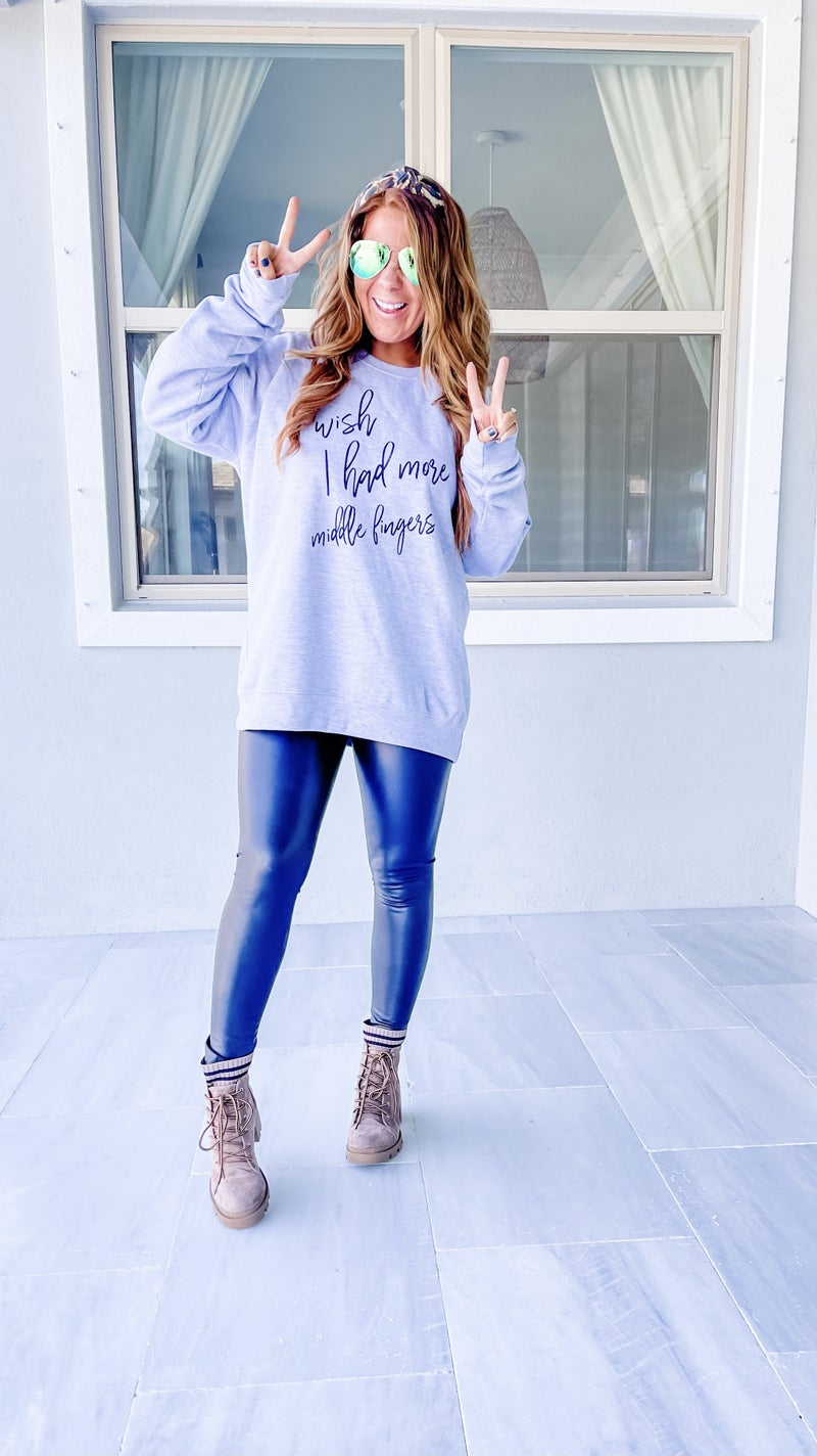 More Middle Fingers Graphic Sweatshirt