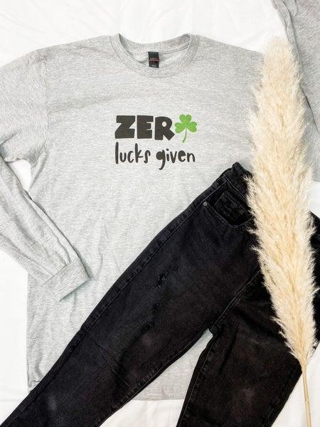 Zero Lucks Given Long Sleeve Graphic Tee
