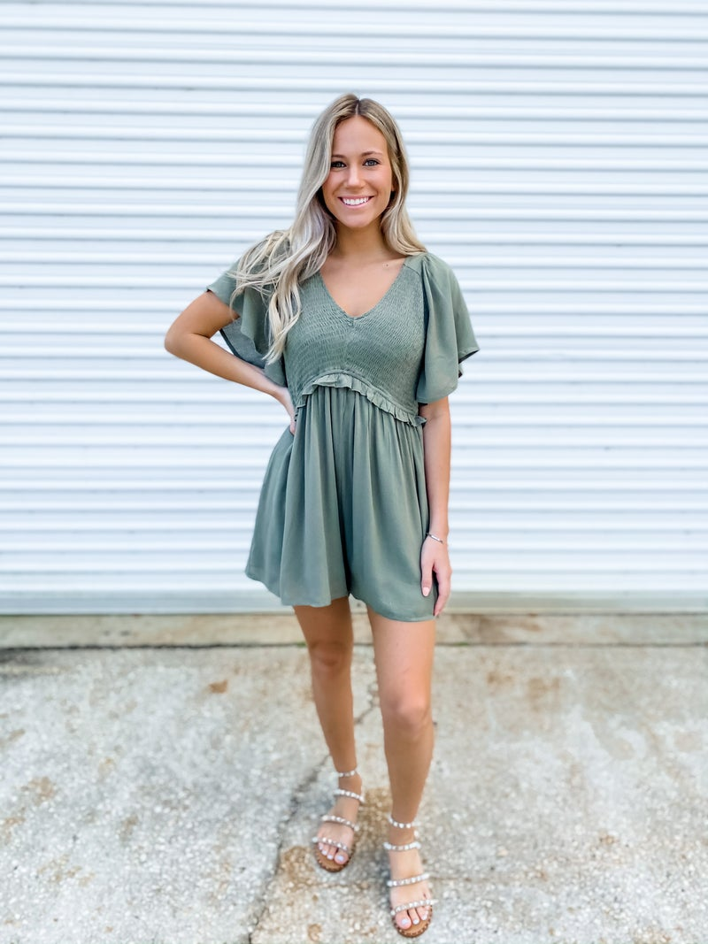 Last To Leave Olive Romper
