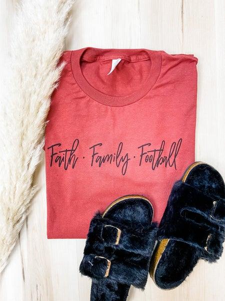 Faith Family Football Graphic Tee