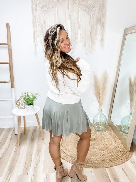 She's The Flirty Kind Olive Shorts
