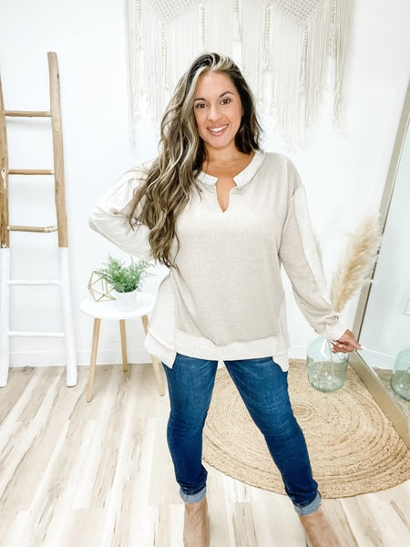 Some Day Soon Taupe Long Sleeve Top