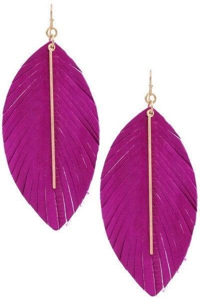 Fuchsia Worn Gold Genuine Leather Feather Earrings