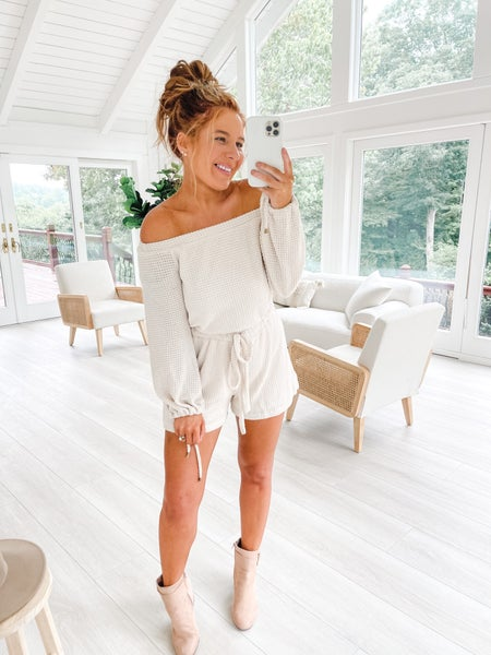 Let's Stay In Bed Oatmeal Waffle Knit Romper