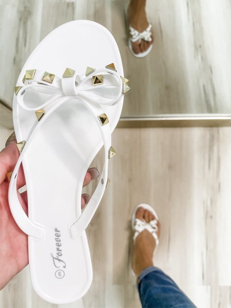 White Studded Bow Jelly Sandals