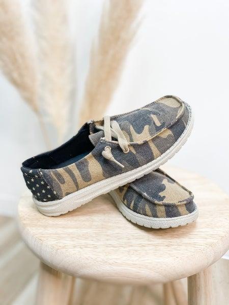 Tan & Grey Camo Slip On Shoe