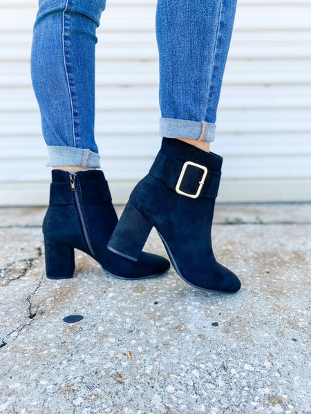 Black Suede Buckle Chunky Bootie